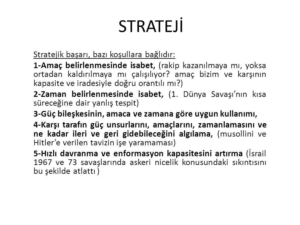 STRATEJİ Stratejik başarı, bazı koşullara bağlıdır: