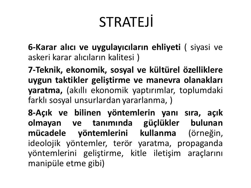 STRATEJİ 6-Karar alıcı ve uygulayıcıların ehliyeti ( siyasi ve askeri karar alıcıların kalitesi )