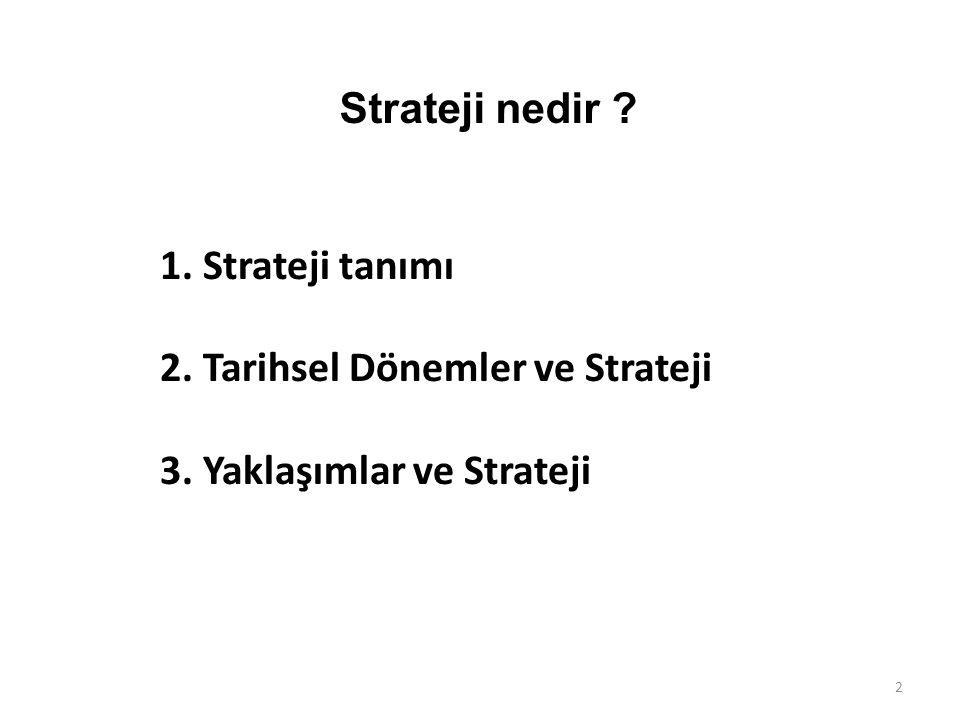Strateji nedir 1. Strateji tanımı 2. Tarihsel Dönemler ve Strateji 3. Yaklaşımlar ve Strateji 2