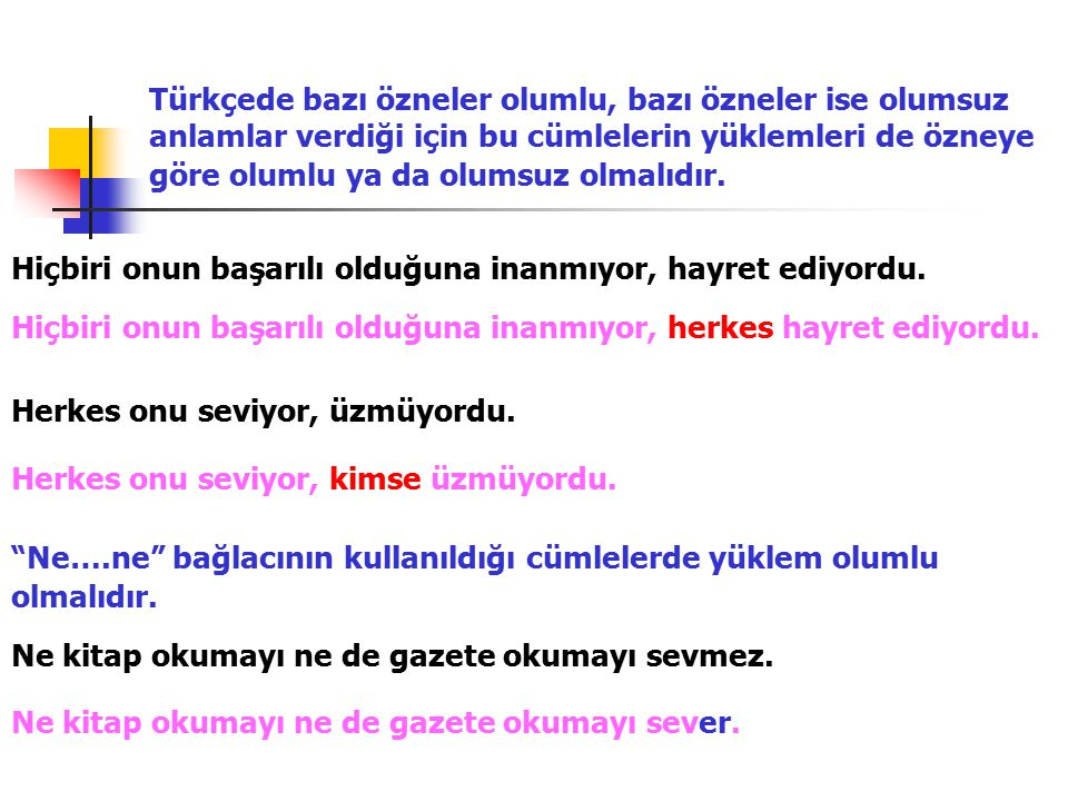 Türkçede bazı özneler olumlu, bazı özneler ise olumsuz anlamlar verdiği için bu cümlelerin yüklemleri de özneye göre olumlu ya da olumsuz olmalıdır.