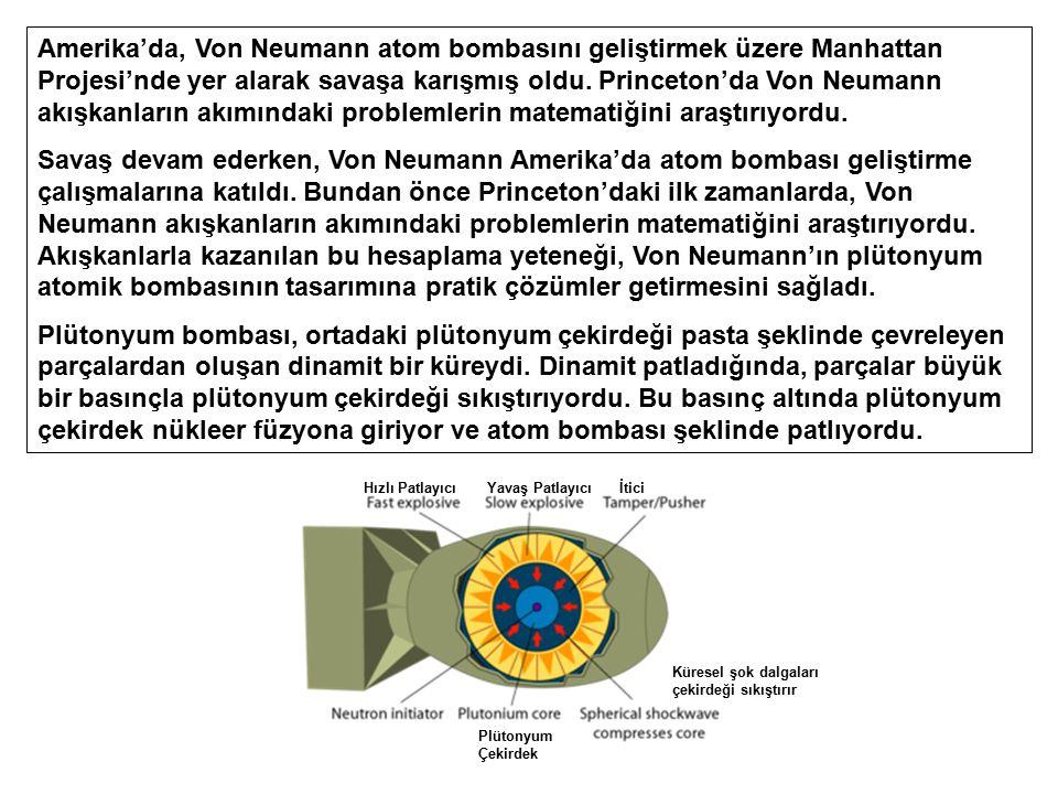 Amerika'da, Von Neumann atom bombasını geliştirmek üzere Manhattan Projesi'nde yer alarak savaşa karışmış oldu. Princeton'da Von Neumann akışkanların akımındaki problemlerin matematiğini araştırıyordu.