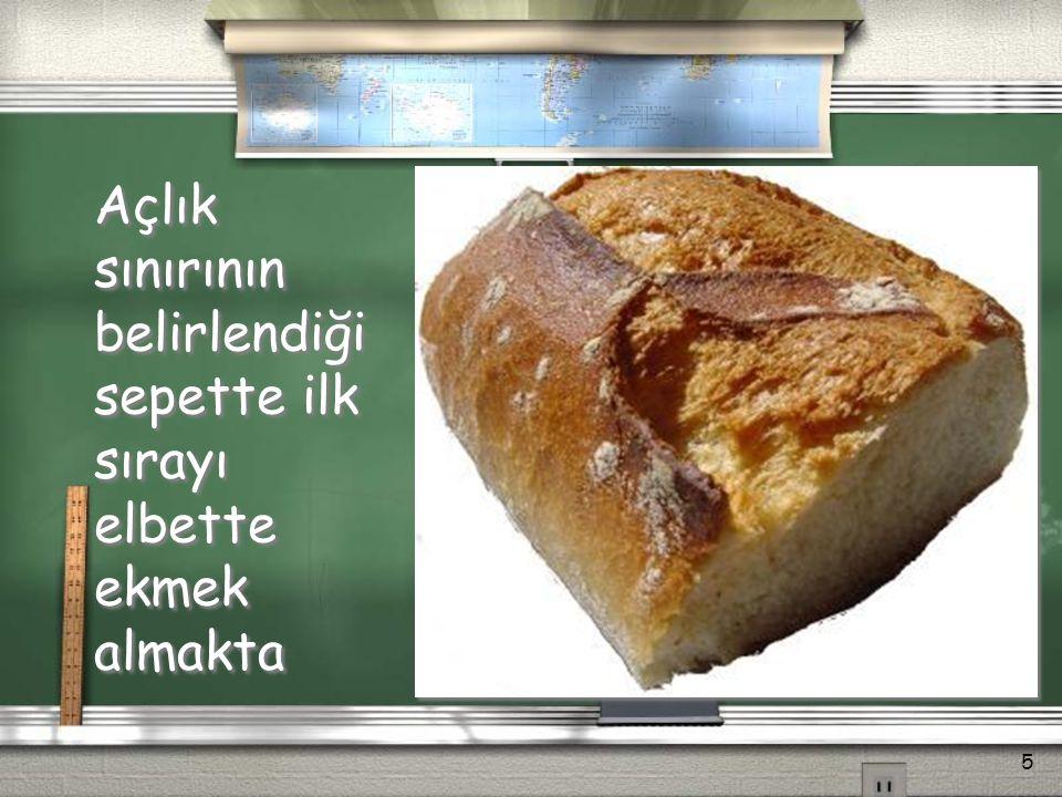 Açlık sınırının belirlendiği sepette ilk sırayı elbette ekmek almakta