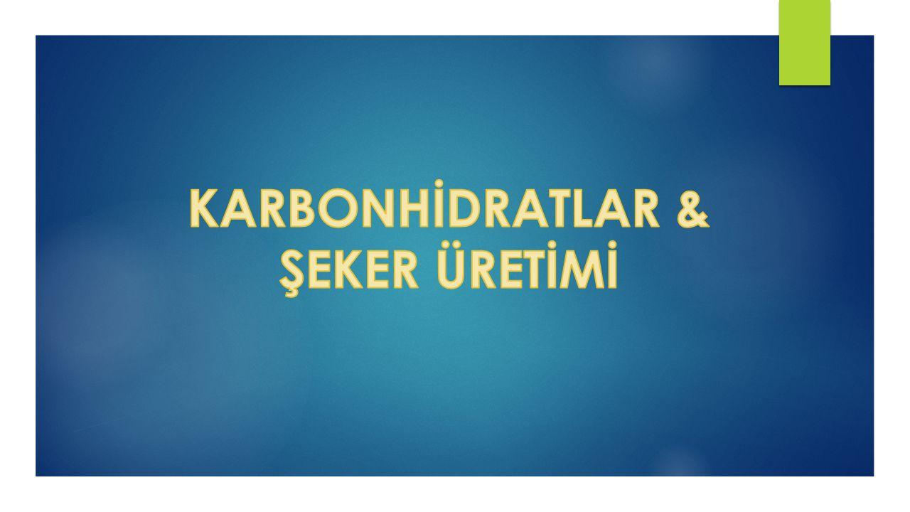 KARBONHİDRATLAR & ŞEKER ÜRETİMİ