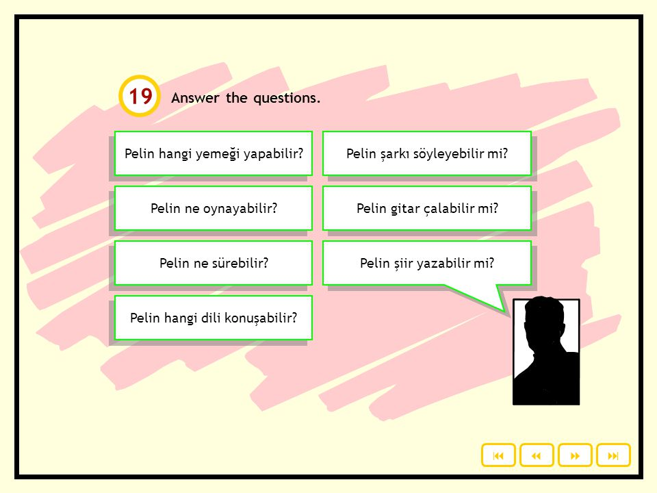 19 Answer the questions. Pelin hangi yemeği yapabilir