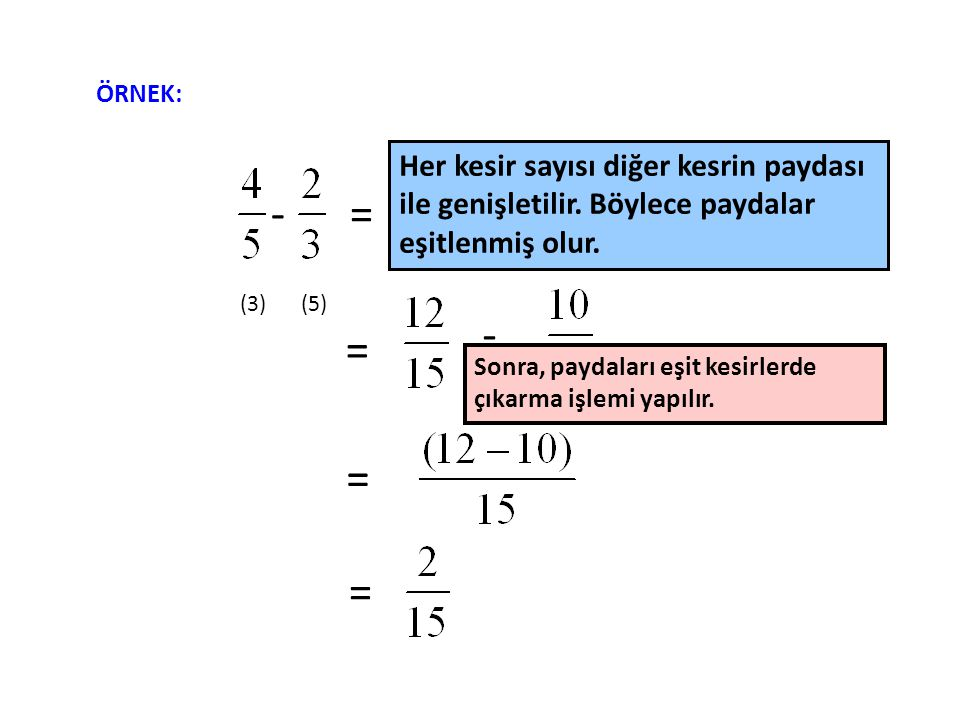 ÖRNEK: Her kesir sayısı diğer kesrin paydası ile genişletilir. Böylece paydalar eşitlenmiş olur. -