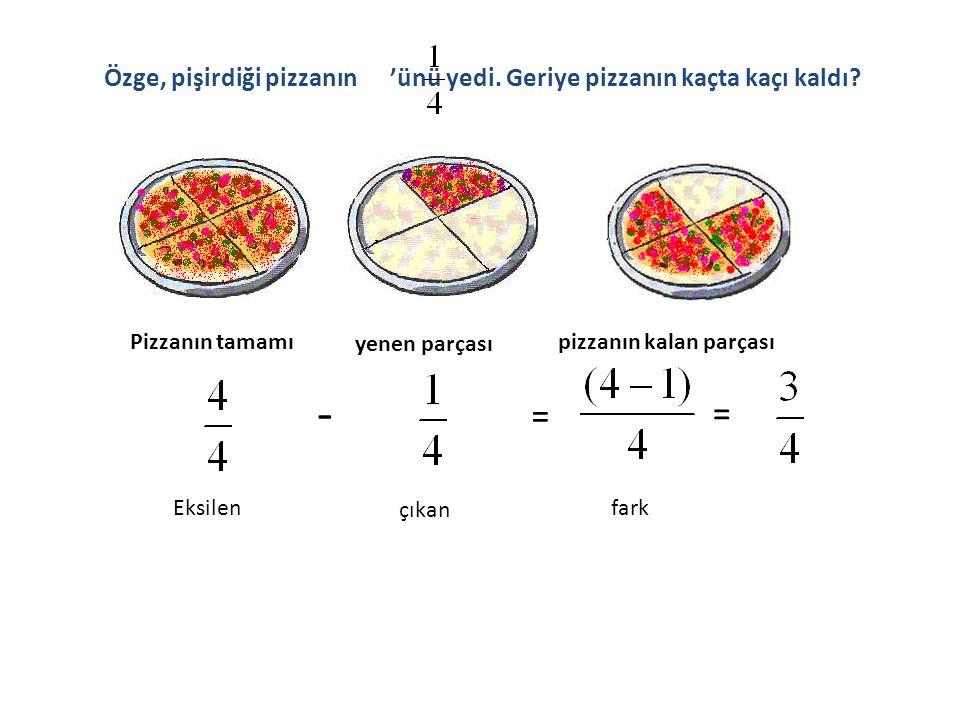 Özge, pişirdiği pizzanın 'ünü yedi. Geriye pizzanın kaçta kaçı kaldı