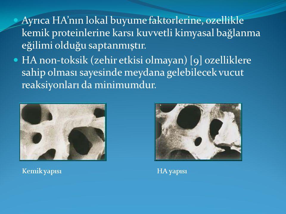 Ayrıca HA'nın lokal buyume faktorlerine, ozellikle kemik proteinlerine karsı kuvvetli kimyasal bağlanma eğilimi olduğu saptanmıştır.