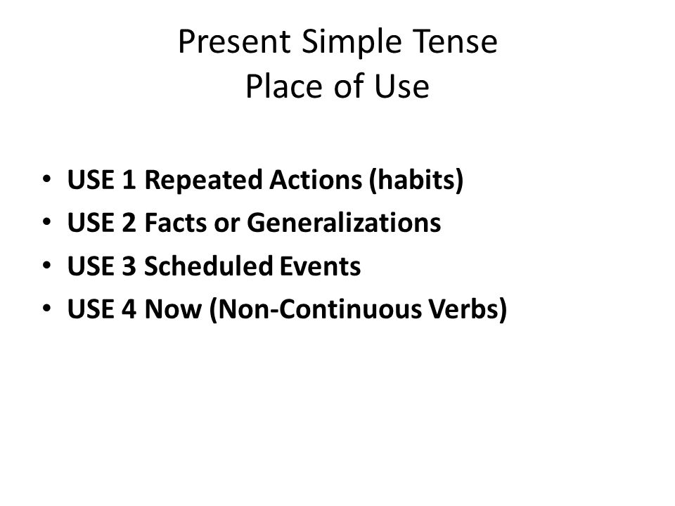 Present Simple Tense Place of Use