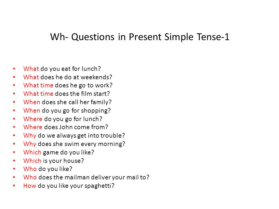 Wh- Questions in Present Simple Tense-1