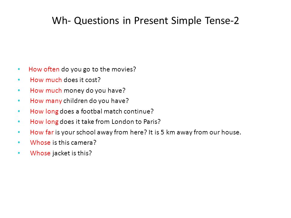 Wh- Questions in Present Simple Tense-2