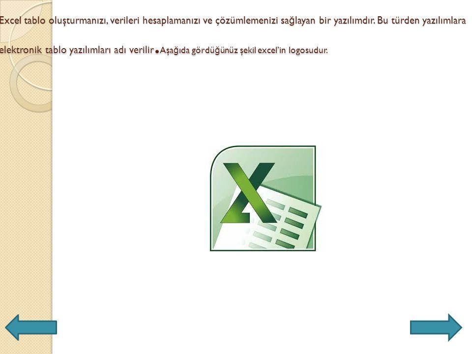 Excel tablo oluşturmanızı, verileri hesaplamanızı ve çözümlemenizi sağlayan bir yazılımdır.