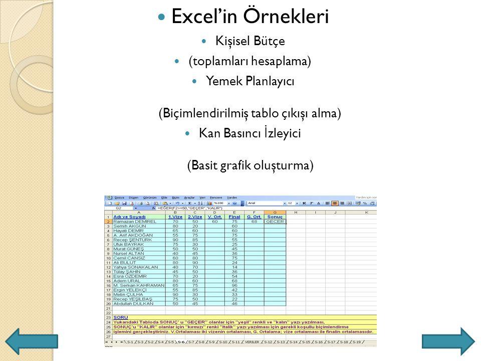 Excel'in Örnekleri Kişisel Bütçe (toplamları hesaplama)