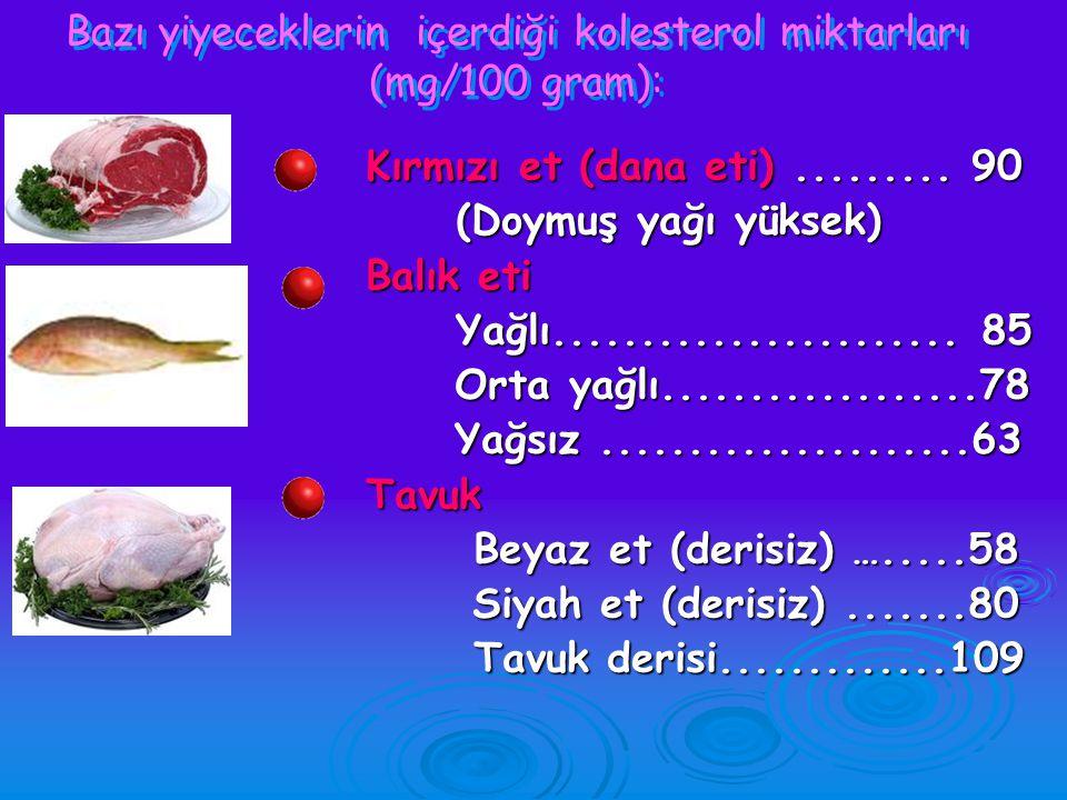 Bazı yiyeceklerin içerdiği kolesterol miktarları (mg/100 gram):