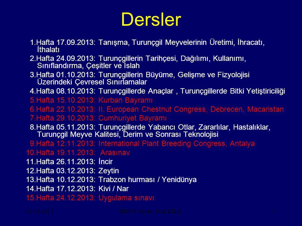 Dersler 1.Hafta 17.09.2013: Tanışma, Turunçgil Meyvelerinin Üretimi, İhracatı, İthalatı.