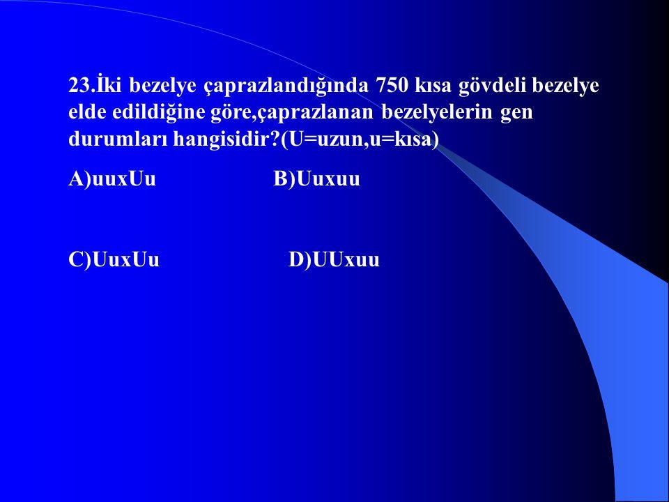 23.İki bezelye çaprazlandığında 750 kısa gövdeli bezelye elde edildiğine göre,çaprazlanan bezelyelerin gen durumları hangisidir (U=uzun,u=kısa)