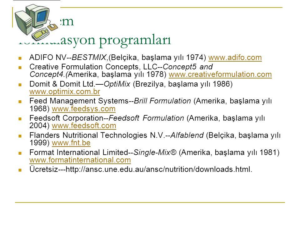 Bazı yem formulasyon programları