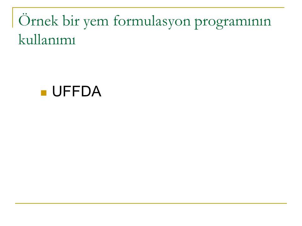 Örnek bir yem formulasyon programının kullanımı