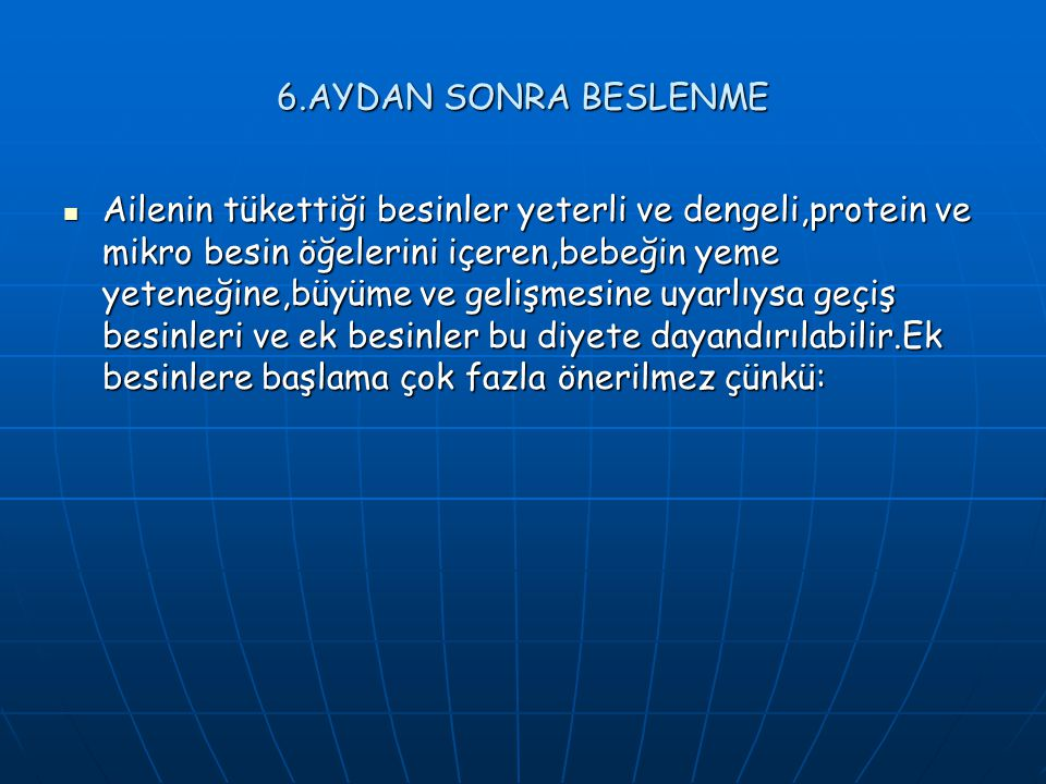 6.AYDAN SONRA BESLENME