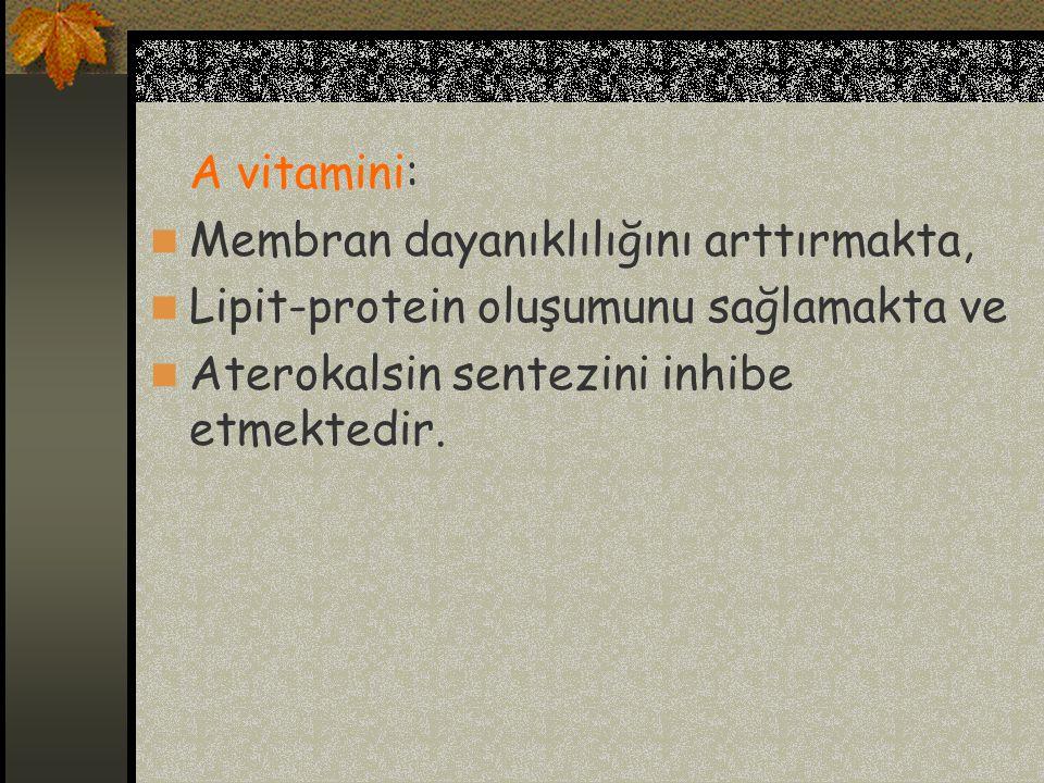 A vitamini: Membran dayanıklılığını arttırmakta, Lipit-protein oluşumunu sağlamakta ve.