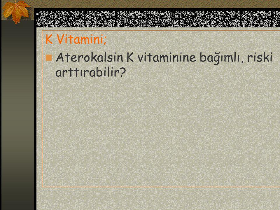 K Vitamini; Aterokalsin K vitaminine bağımlı, riski arttırabilir