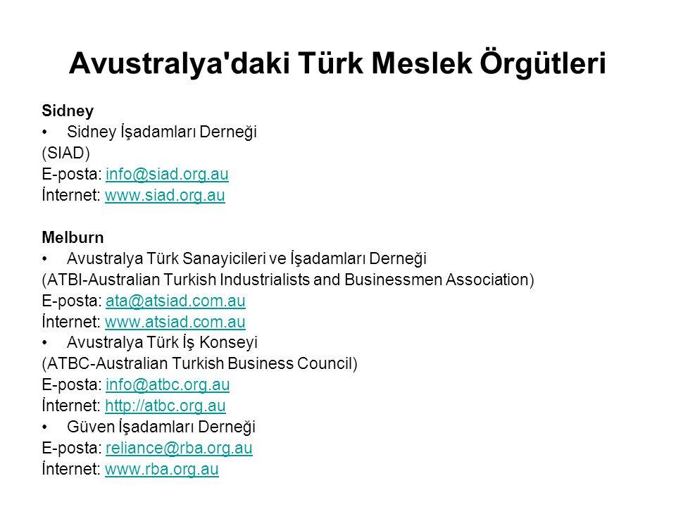 Avustralya daki Türk Meslek Örgütleri