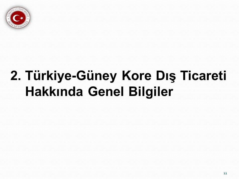 2. Türkiye-Güney Kore Dış Ticareti Hakkında Genel Bilgiler