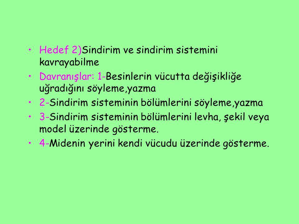 Hedef 2)Sindirim ve sindirim sistemini kavrayabilme