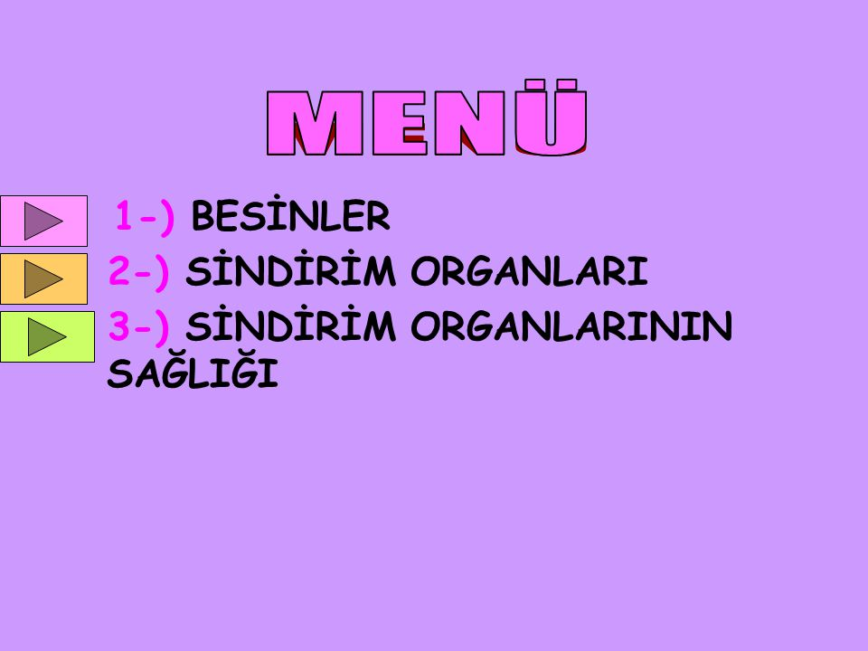 MENÜ 1-) BESİNLER 2-) SİNDİRİM ORGANLARI