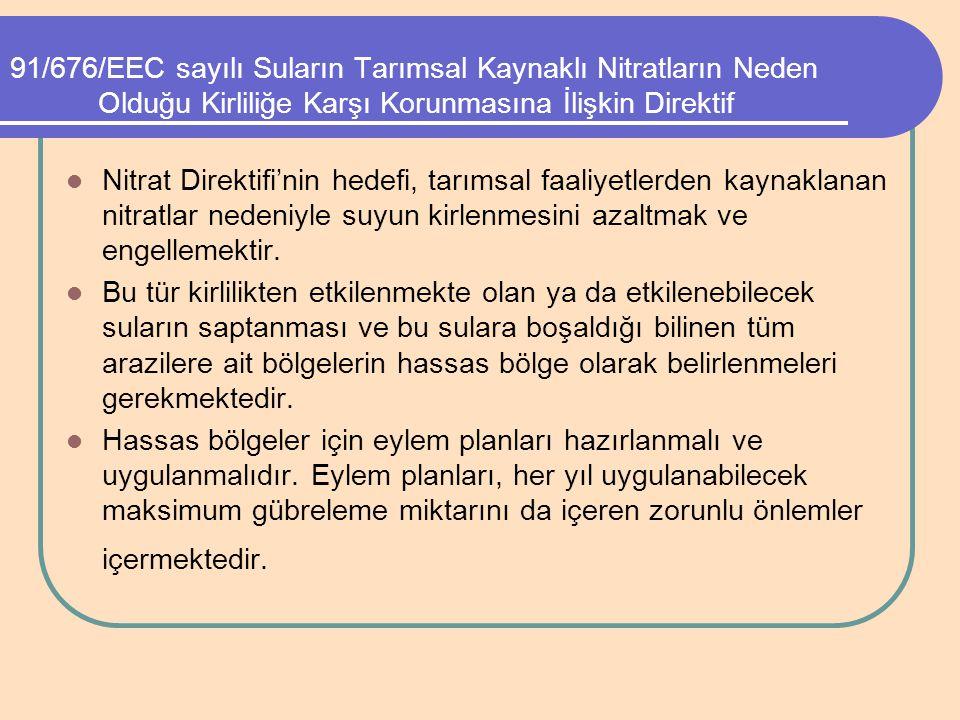 91/676/EEC sayılı Suların Tarımsal Kaynaklı Nitratların Neden Olduğu Kirliliğe Karşı Korunmasına İlişkin Direktif
