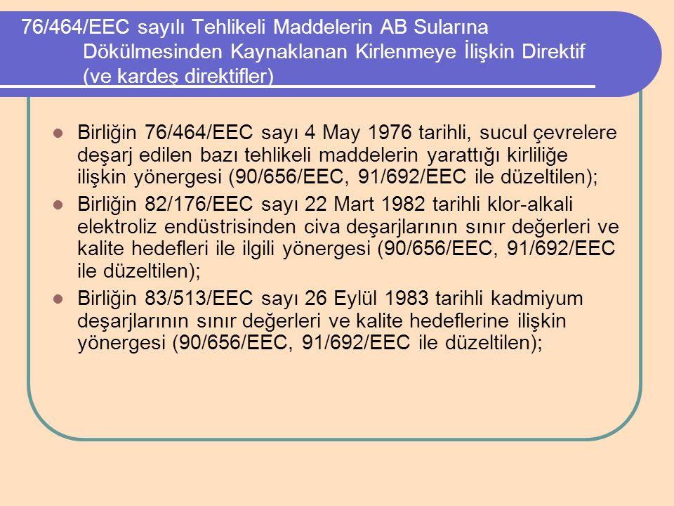76/464/EEC sayılı Tehlikeli Maddelerin AB Sularına Dökülmesinden Kaynaklanan Kirlenmeye İlişkin Direktif (ve kardeş direktifler)