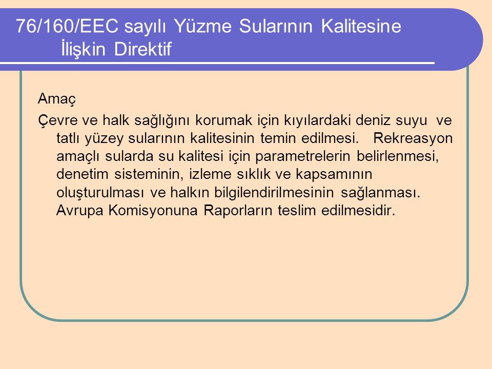 76/160/EEC sayılı Yüzme Sularının Kalitesine İlişkin Direktif