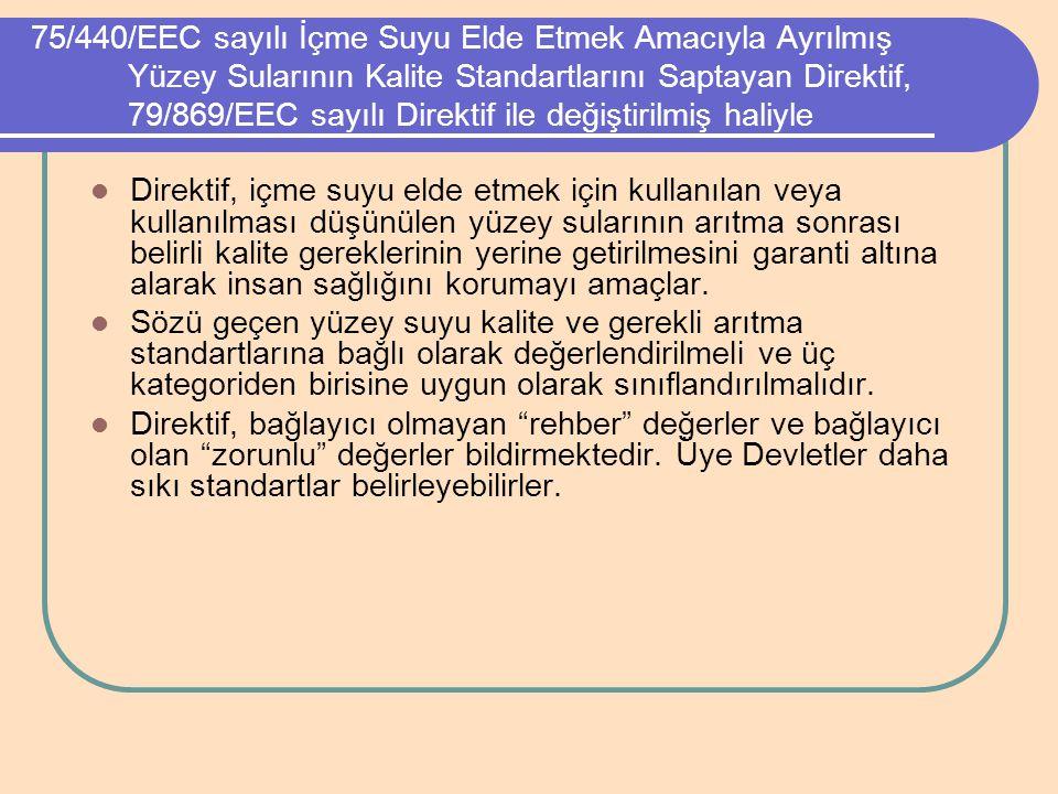 75/440/EEC sayılı İçme Suyu Elde Etmek Amacıyla Ayrılmış Yüzey Sularının Kalite Standartlarını Saptayan Direktif, 79/869/EEC sayılı Direktif ile değiştirilmiş haliyle