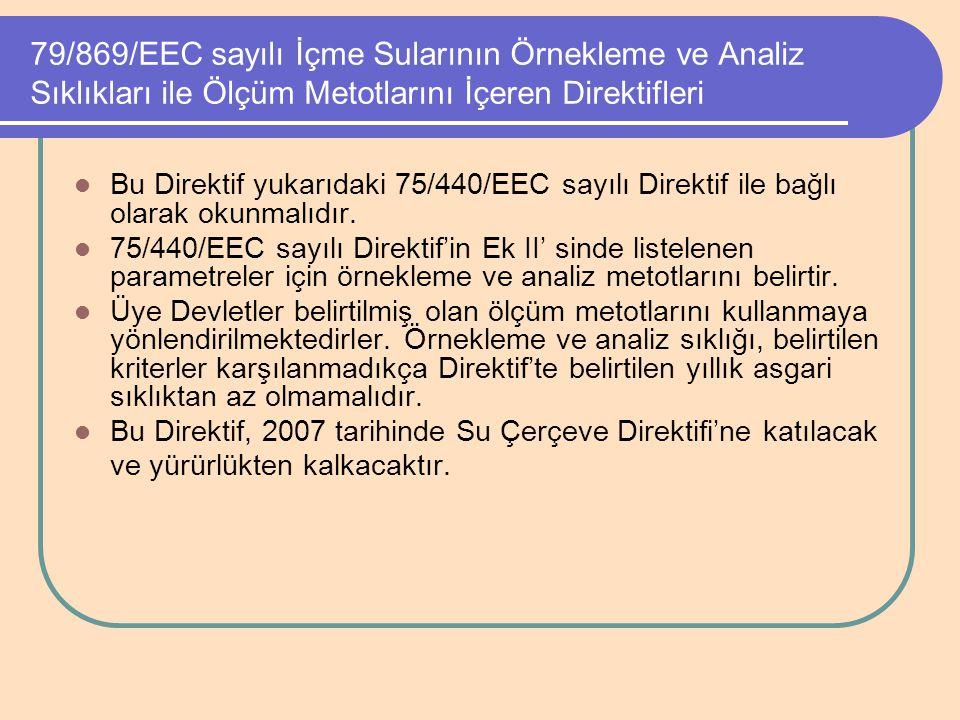 79/869/EEC sayılı İçme Sularının Örnekleme ve Analiz Sıklıkları ile Ölçüm Metotlarını İçeren Direktifleri