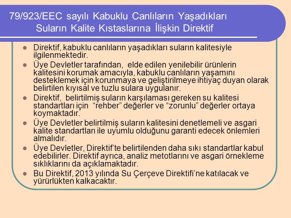 79/923/EEC sayılı Kabuklu Canlıların Yaşadıkları Suların Kalite Kıstaslarına İlişkin Direktif