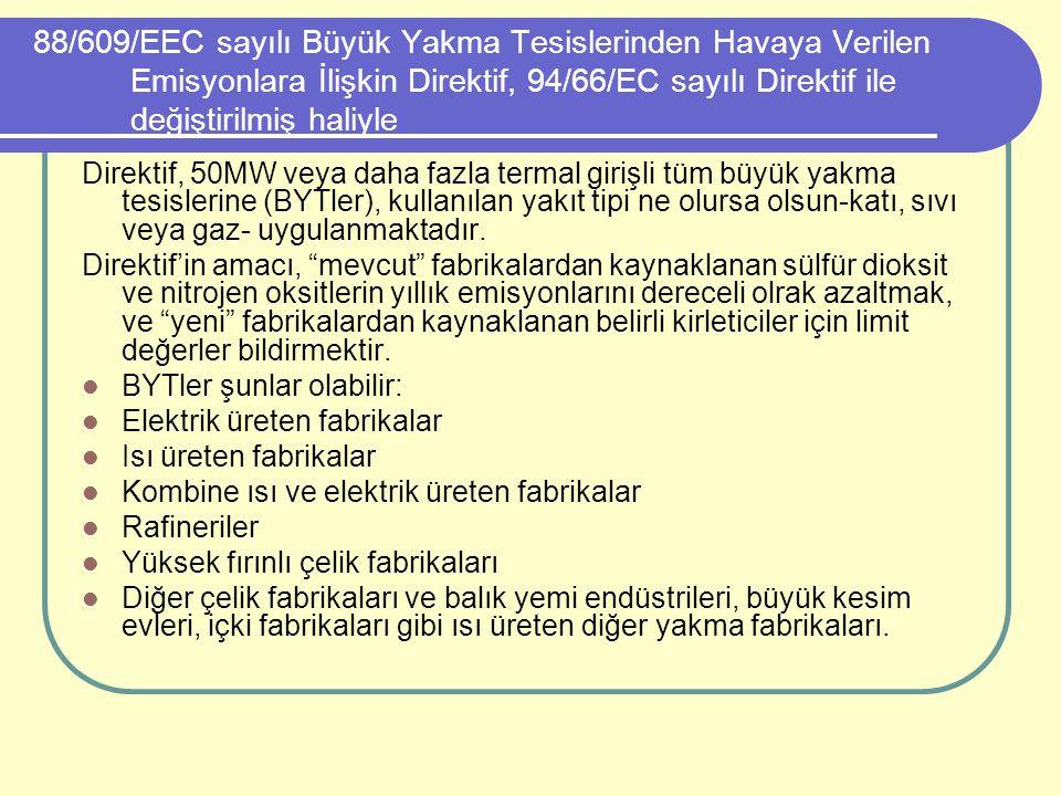 88/609/EEC sayılı Büyük Yakma Tesislerinden Havaya Verilen Emisyonlara İlişkin Direktif, 94/66/EC sayılı Direktif ile değiştirilmiş haliyle