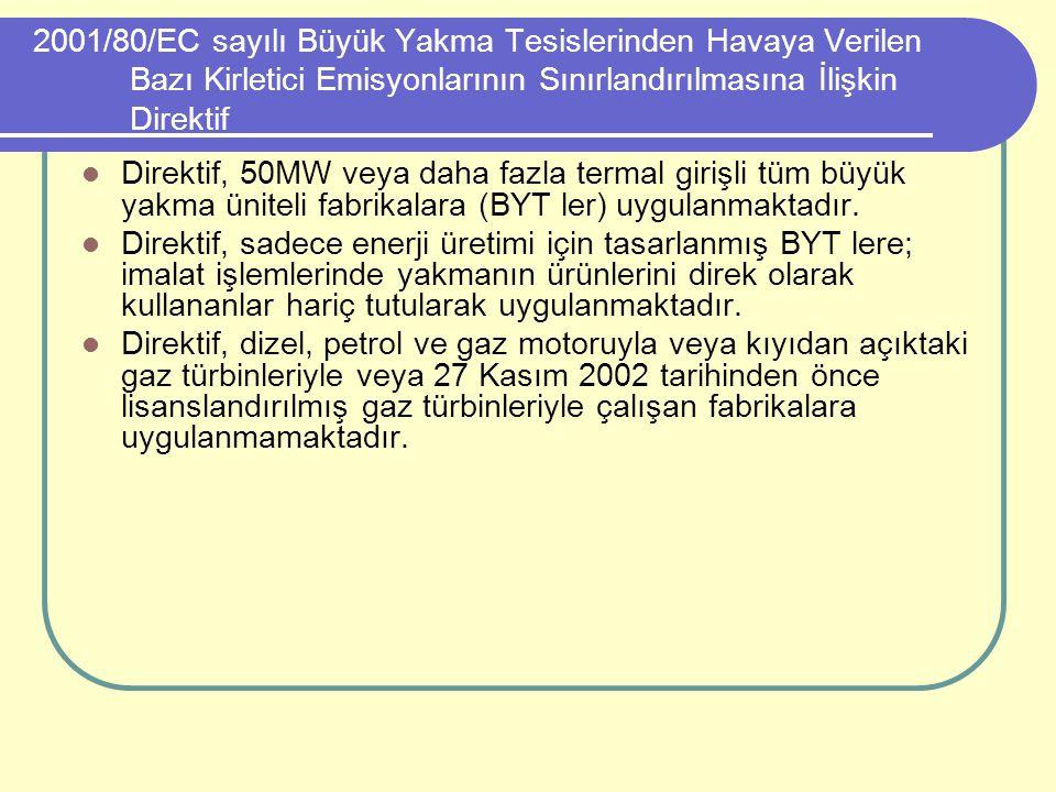 2001/80/EC sayılı Büyük Yakma Tesislerinden Havaya Verilen Bazı Kirletici Emisyonlarının Sınırlandırılmasına İlişkin Direktif