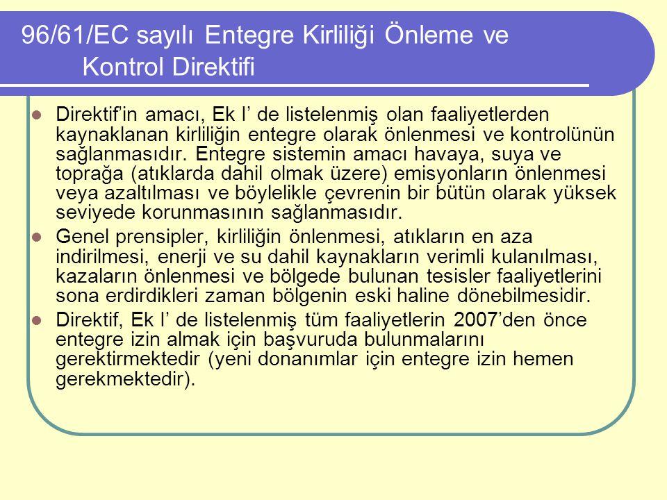 96/61/EC sayılı Entegre Kirliliği Önleme ve Kontrol Direktifi