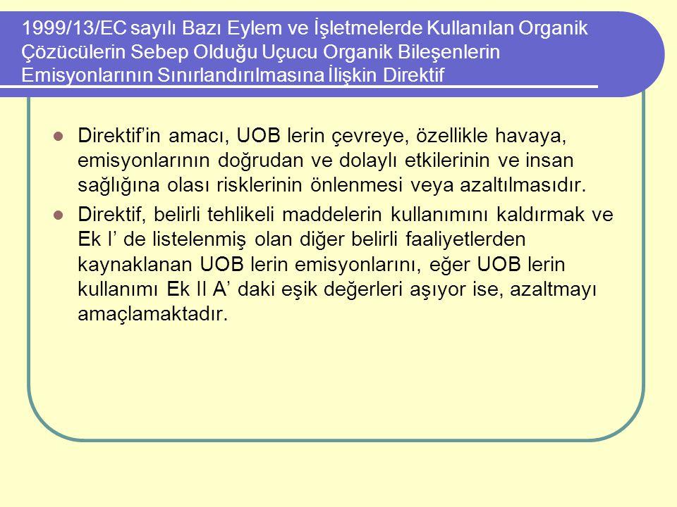 1999/13/EC sayılı Bazı Eylem ve İşletmelerde Kullanılan Organik Çözücülerin Sebep Olduğu Uçucu Organik Bileşenlerin Emisyonlarının Sınırlandırılmasına İlişkin Direktif
