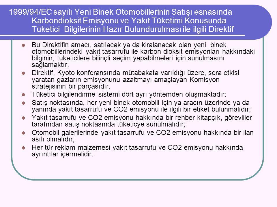 1999/94/EC sayılı Yeni Binek Otomobillerinin Satışı esnasında Karbondioksit Emisyonu ve Yakıt Tüketimi Konusunda Tüketici Bilgilerinin Hazır Bulundurulması ile ilgili Direktif