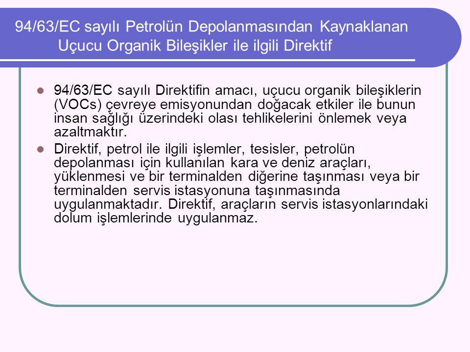 94/63/EC sayılı Petrolün Depolanmasından Kaynaklanan Uçucu Organik Bileşikler ile ilgili Direktif