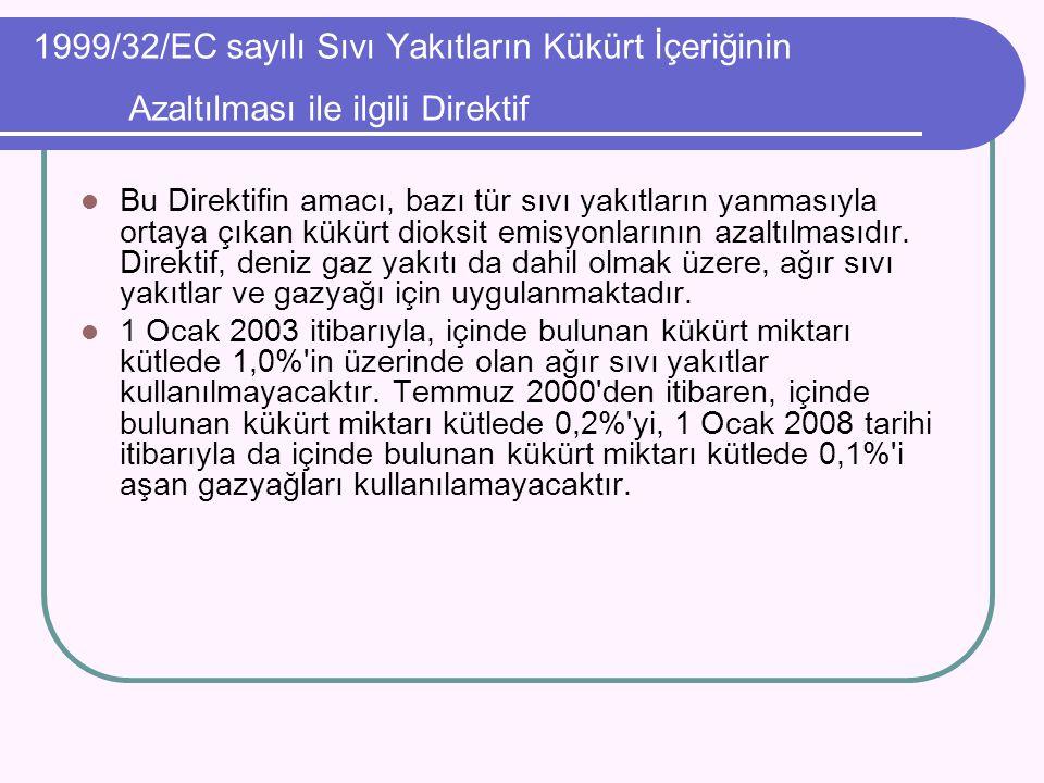 1999/32/EC sayılı Sıvı Yakıtların Kükürt İçeriğinin Azaltılması ile ilgili Direktif