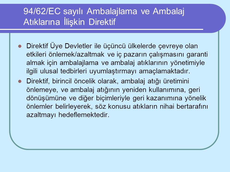 94/62/EC sayılı Ambalajlama ve Ambalaj Atıklarına İlişkin Direktif