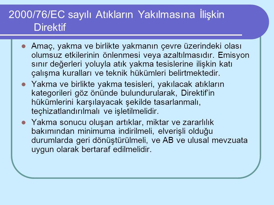 2000/76/EC sayılı Atıkların Yakılmasına İlişkin Direktif