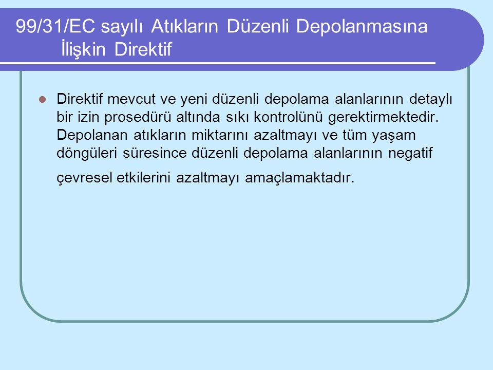 99/31/EC sayılı Atıkların Düzenli Depolanmasına İlişkin Direktif