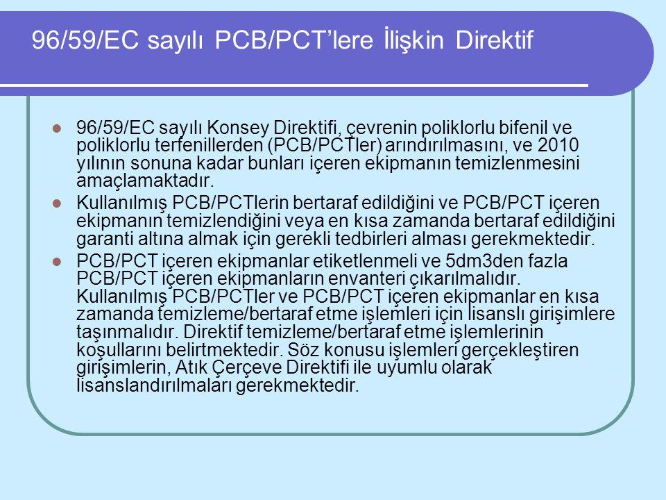 96/59/EC sayılı PCB/PCT'lere İlişkin Direktif