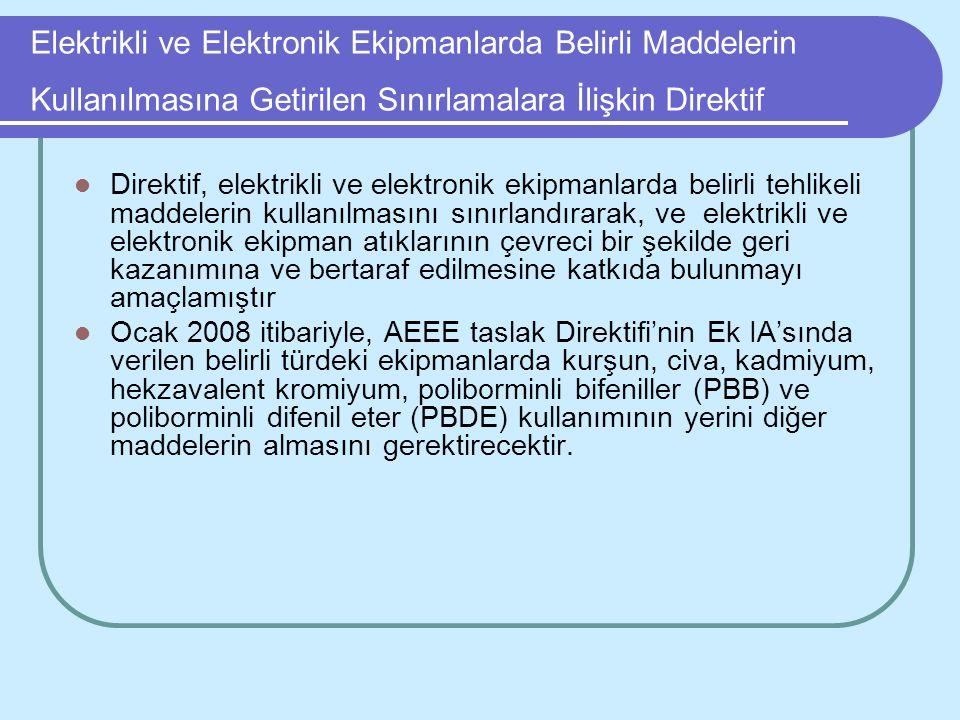 Elektrikli ve Elektronik Ekipmanlarda Belirli Maddelerin Kullanılmasına Getirilen Sınırlamalara İlişkin Direktif