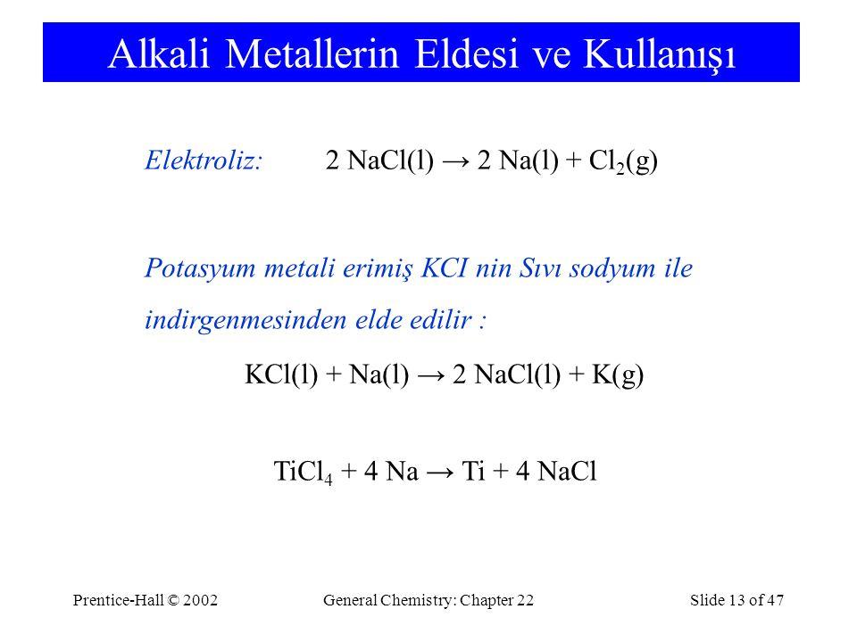 Alkali Metallerin Eldesi ve Kullanışı