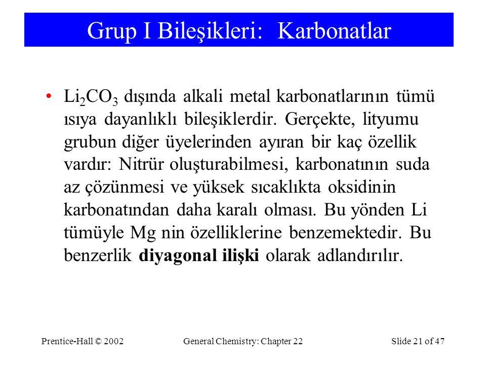 Grup I Bileşikleri: Karbonatlar