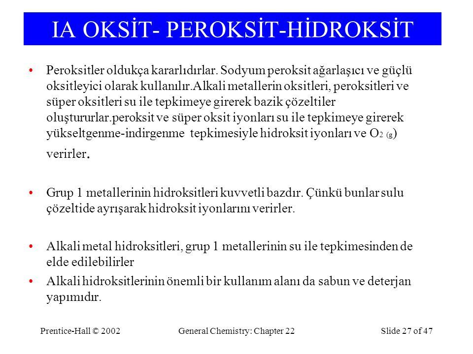 IA OKSİT- PEROKSİT-HİDROKSİT