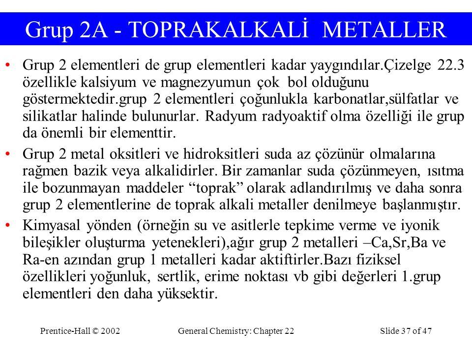 Grup 2A - TOPRAKALKALİ METALLER